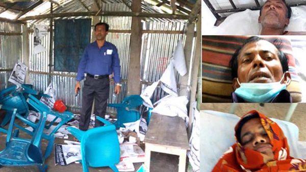কলারোয়ার বাটরায় নৌকার অফিস ভাংচৃর : আহত-৭